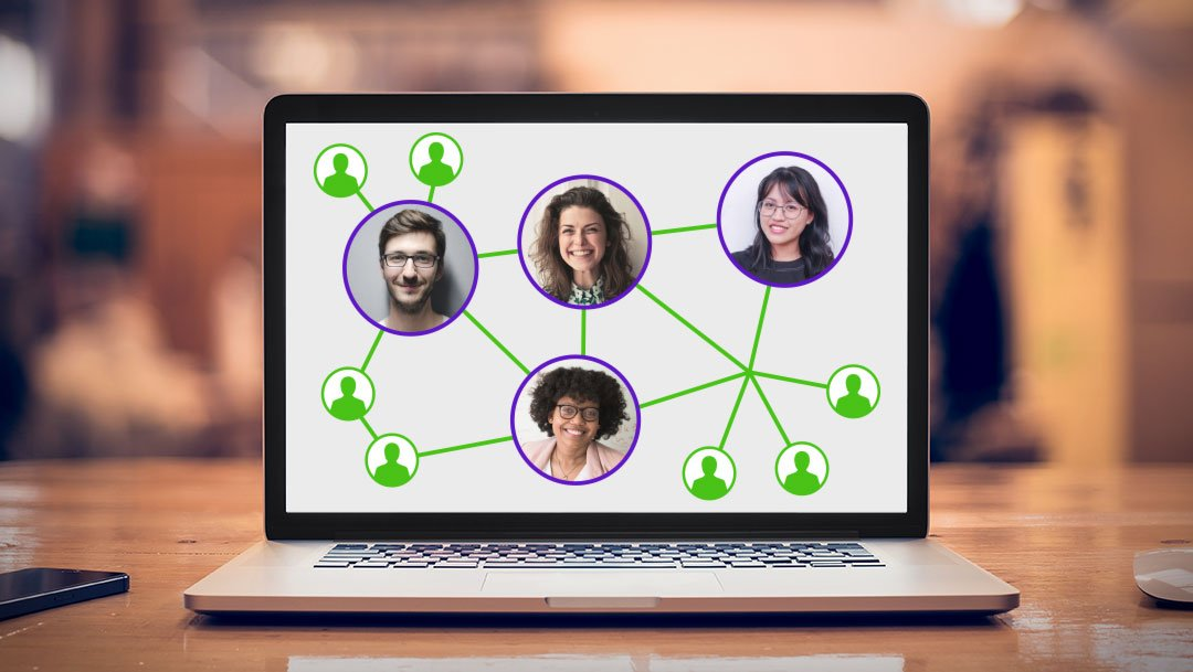 Laptop screen showing distributed employees linked together