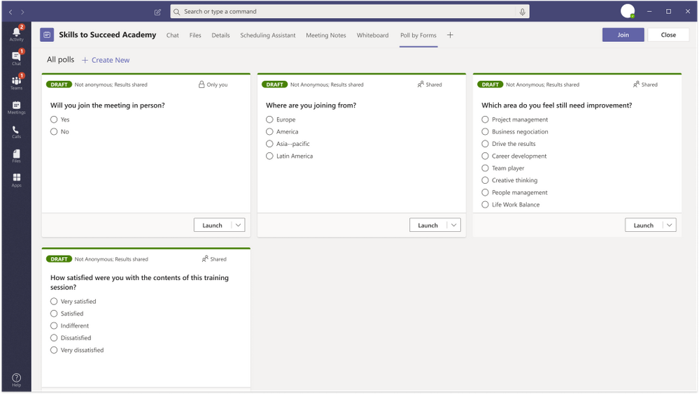 New! Polls in Microsoft Teams