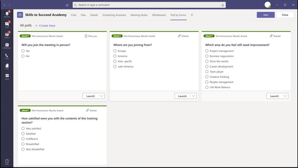 Poll in Microsoft Teams